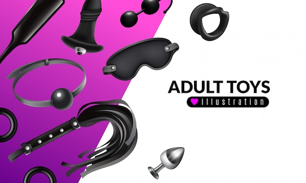 Adult toys illustration with fetish stuff for role playing and bdsm set realistic  illustration Free Vector
