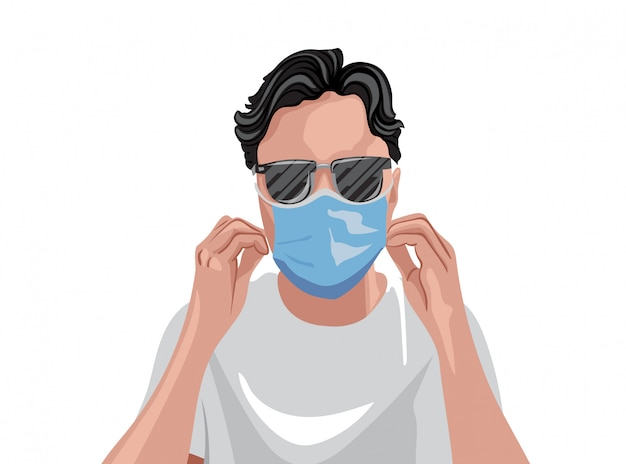 Adult in white t-shirt wearing protective medical mask and sunglasses Premium Vector