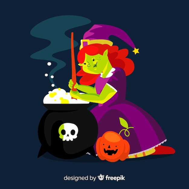 Adult witch and melting pot with skull Free Vector