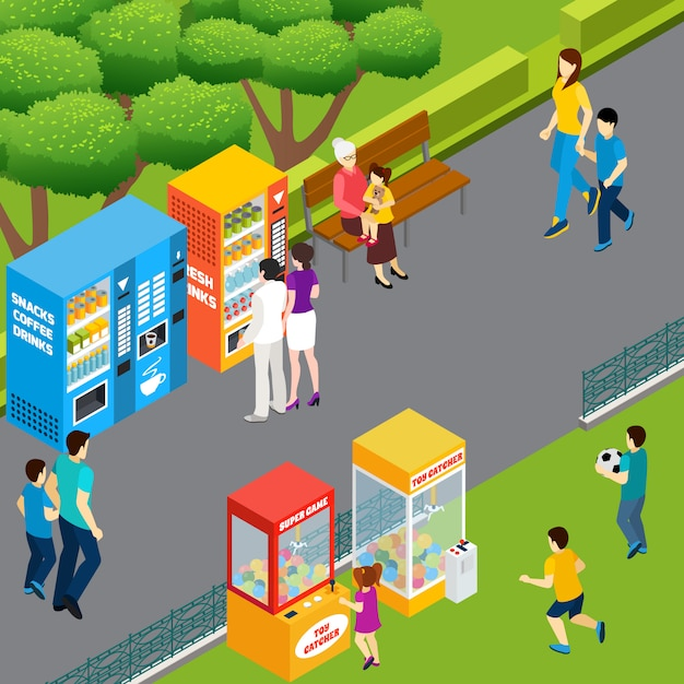 Adults and children using vending machines and toy catchers walking and playing in park 3d isometric vector illustration Free Vector