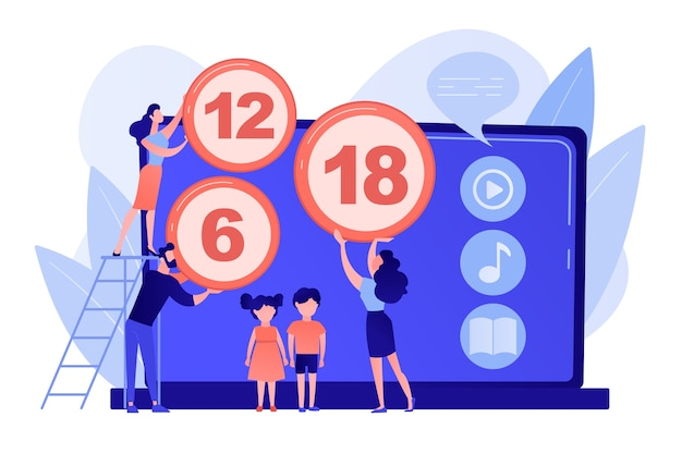 Adults rating content for children with age restriction signs. content rating system, age limitation content, censorship classification concept Free Vector