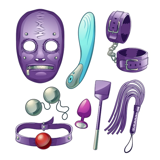 Adults sex toys, accessories for bdsm role play cartoon set with dildo or vibrator Free Vector