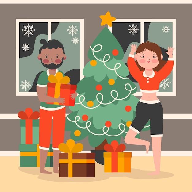 クリスマスプレゼントを箱から出す大人 無料ベクター