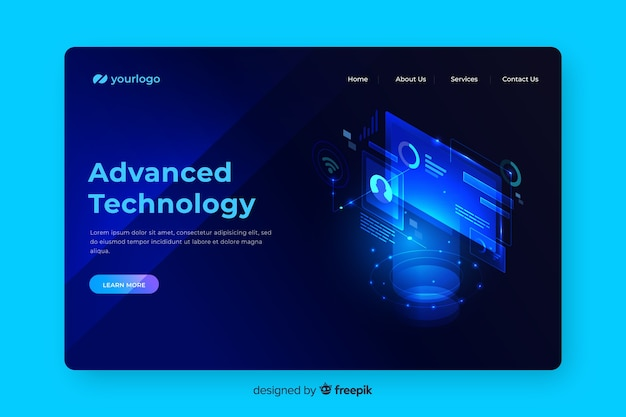 Advanced tech concept landing page Free Vector