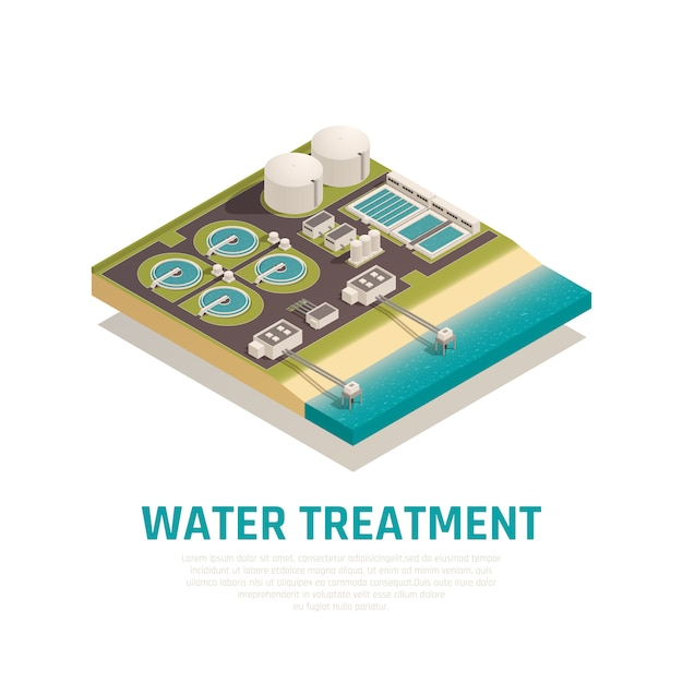 Advanced water treatment plant isometric composition with settling basins filtration separation oxidation wastewater purification facilities Free Vector