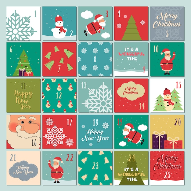 Advent Calendar Christmas Poster Santa Claus Snowflakes Snowman