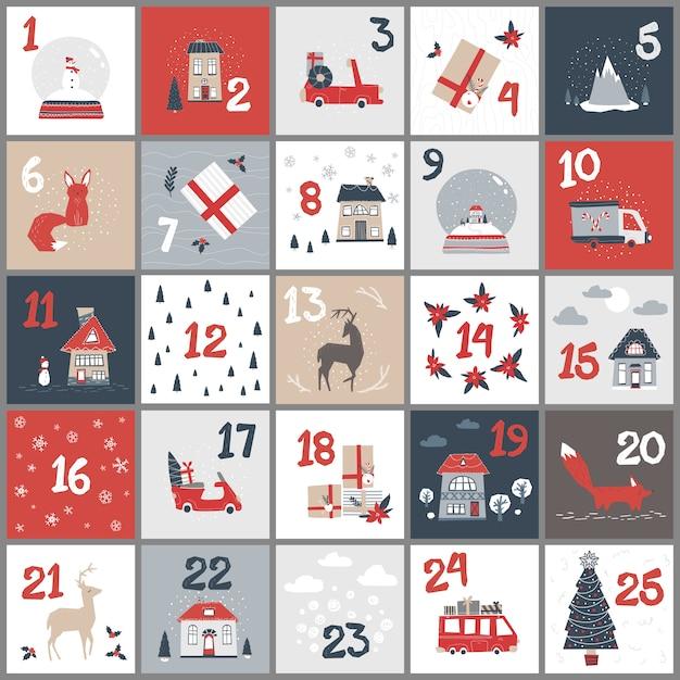 Advent calendar. christmas poster in a simple scandinavian style. Premium Vector