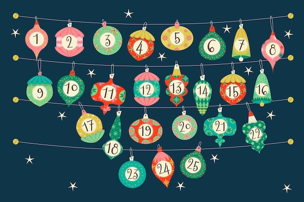 Advent calendar for christmas Free Vector