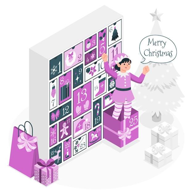 Advent calendarconcept illustration Free Vector