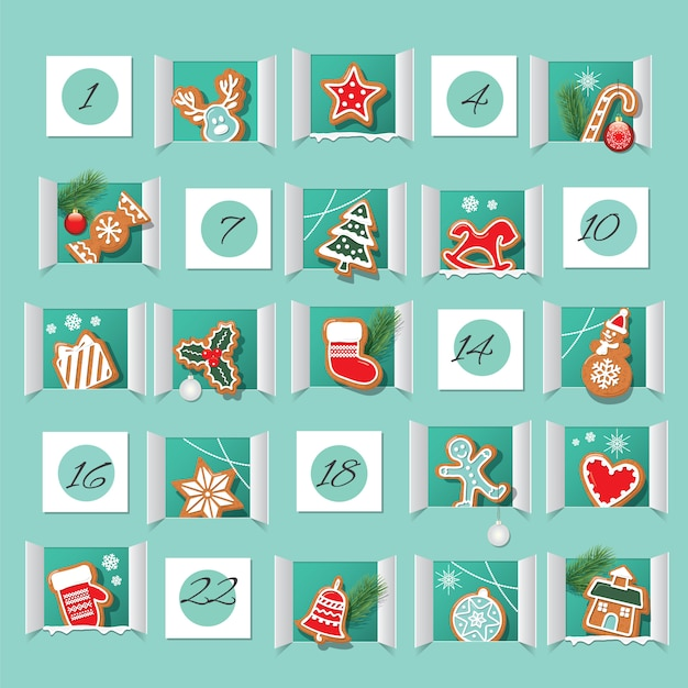 Advent calendar decorated. countdown to christmas. Premium Vector