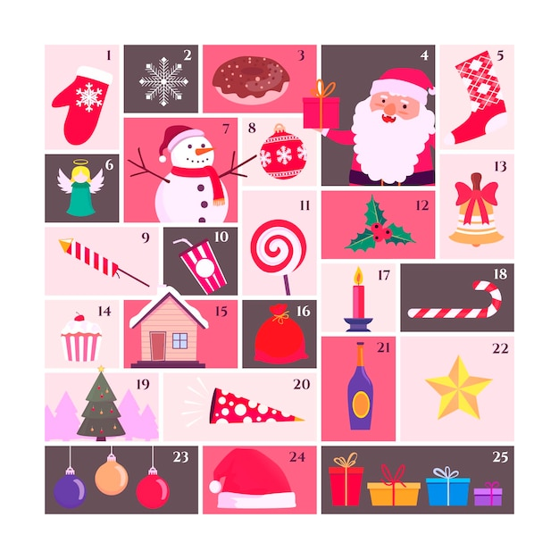 Advent calendar in flat design Free Vector