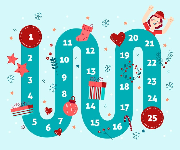 Advent calendar hand drawn illustrations Free Vector