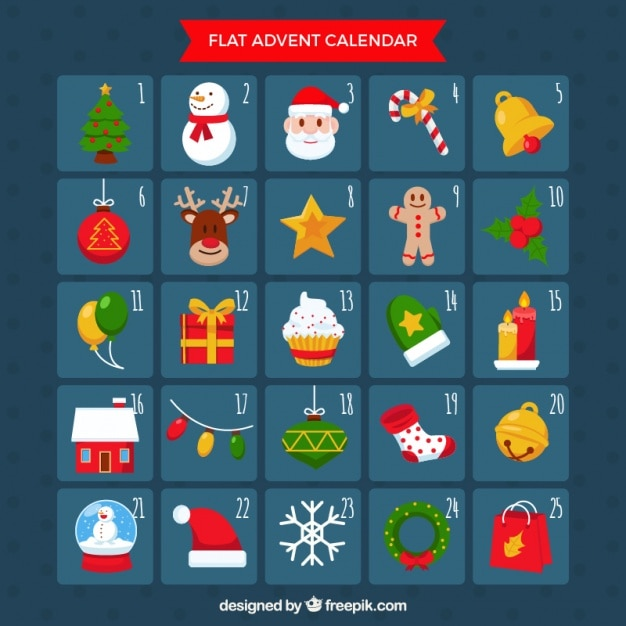 Typography Advent Calendar : Advent calendar in flat design vector free download