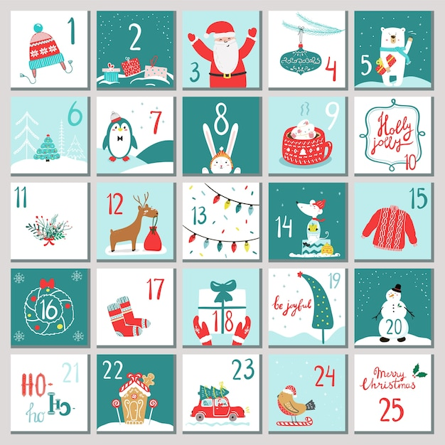 Advent calendar for opening on holidays Premium Vector