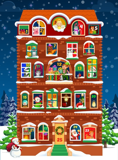 Advent calendar template of christmas house with winter holidays countdown windows Premium Vector