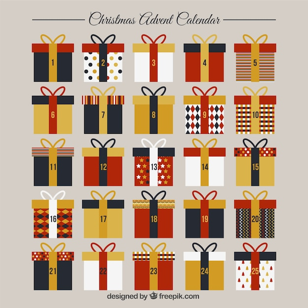 Advent calendar template with gift boxes Vector | Free Download