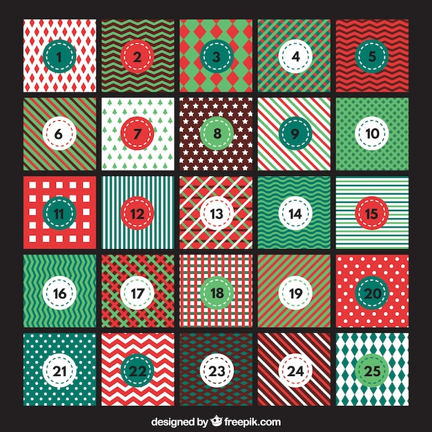 Advent calendar with abstract designs Vector
