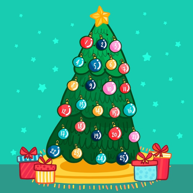 Advent calendar with christmas balls in a tree Premium Vector