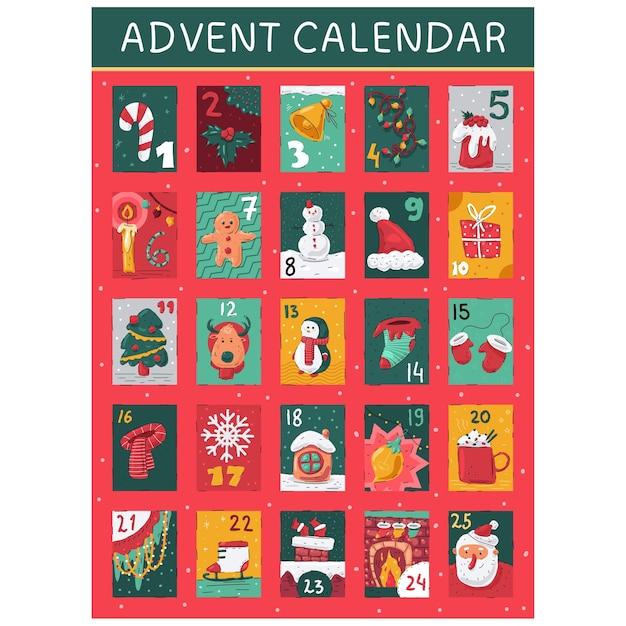 Advent calendar with christmas elements cartoon illustration Premium Vector