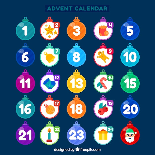 Advent calendar with days in a shape of baubles