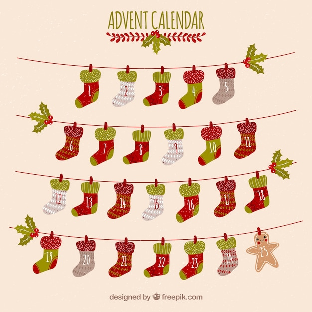 Advent Calendar Live Wallpaper : Advent calendar with days in a shape of christmas socks