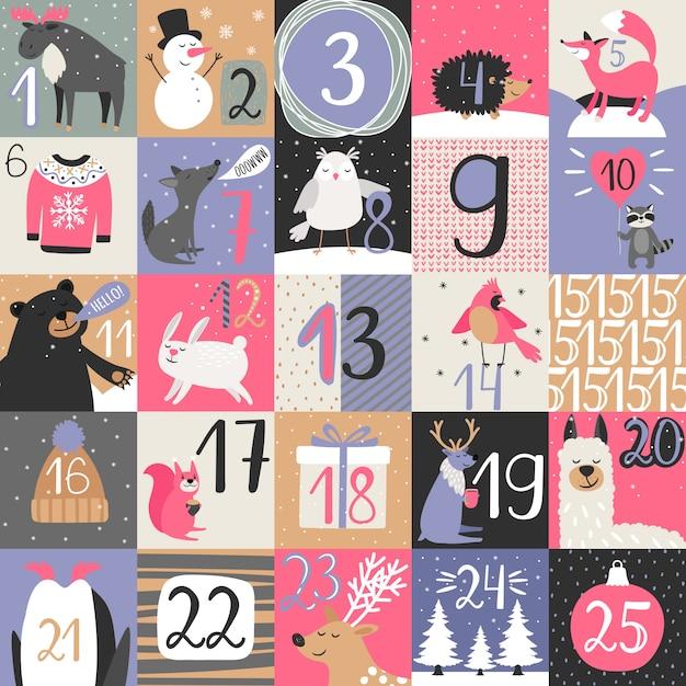 Advent calendar with winter animals Premium Vector