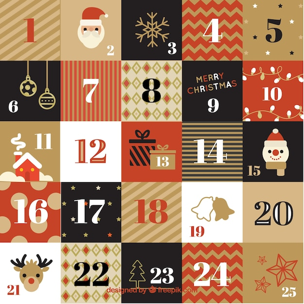 Calendar Vintage Vector : Advent retro calendar vector free download