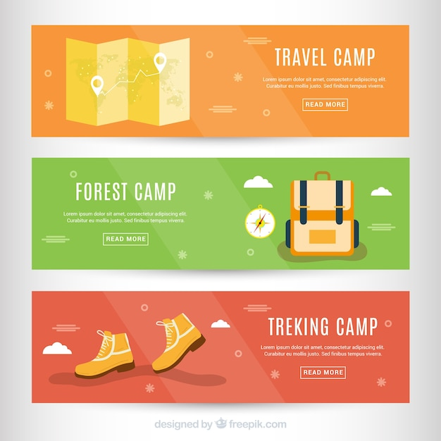 Adventure accessories banners in flat style Free Vector