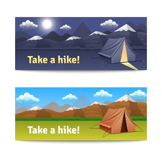 Adventure and hike realistic horizontal banners\ set with tent and mountains