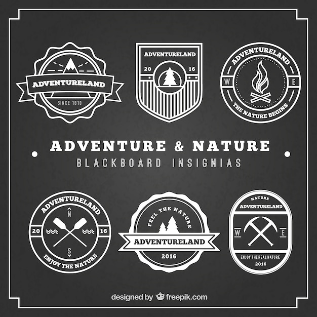 Adventure and nature blackboard\ insignias