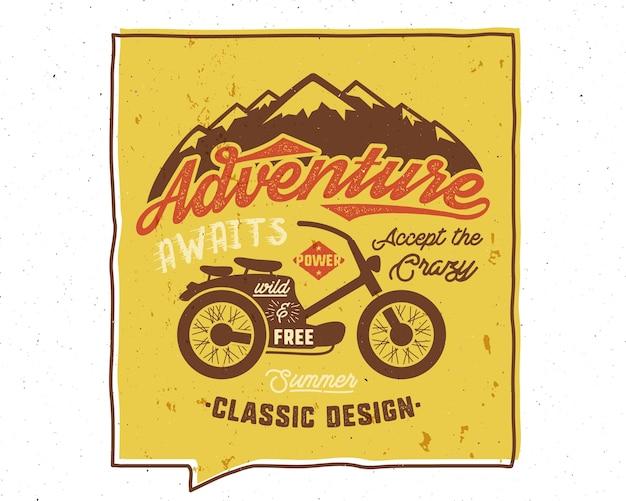 冒険は刺激的な創造的なポスターを待っています。 Premiumベクター