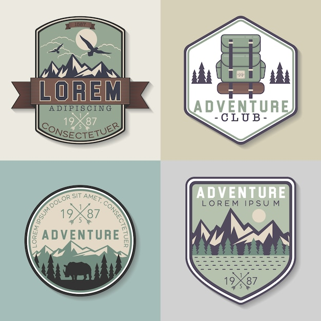 Adventure badges collection Free Vector
