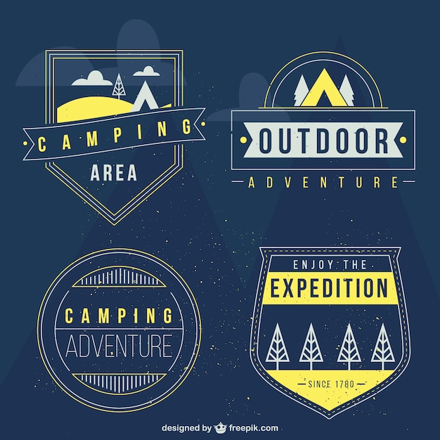 Adventure badges in a retro style