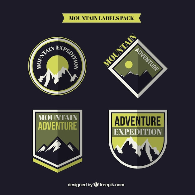 Adventure badges on a black background