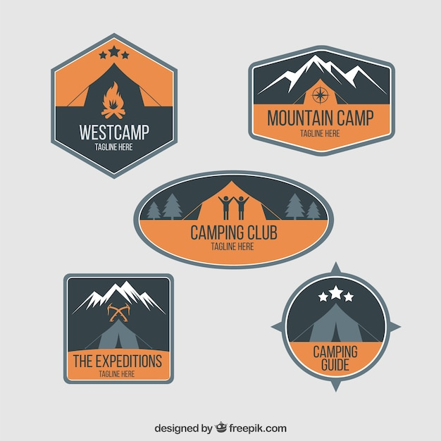 Adventure badges with camping tent in orange\ color