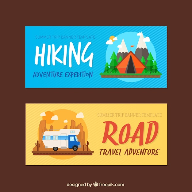 Adventure banners set of hiking and road\ trip