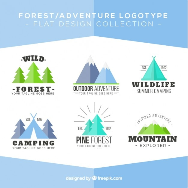 Adventure beautiful logos in flat design