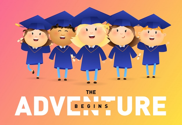 The adventure begins banner design Free Vector