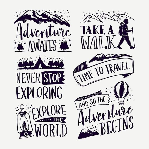 모험은 캠핑 글자로 시작됩니다 무료 벡터