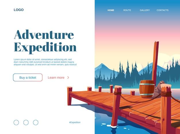 Целевая страница мультфильма приключенческой экспедиции с деревянным пирсом на озере, пруду или речном ландшафте. Бесплатные векторы