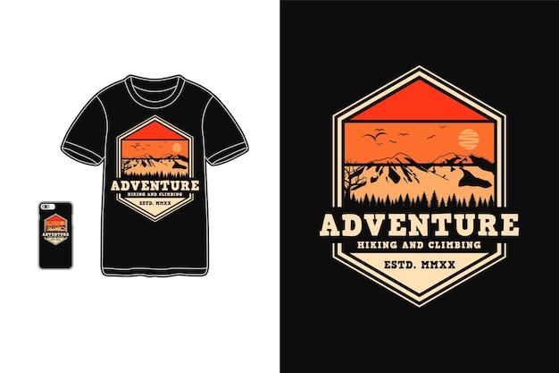 Приключенческий туризм и альпинистский дизайн для футболки силуэт в стиле ретро Premium векторы