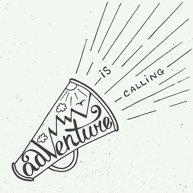 Adventure is calling in mouthpiece with mountains Premium Vector