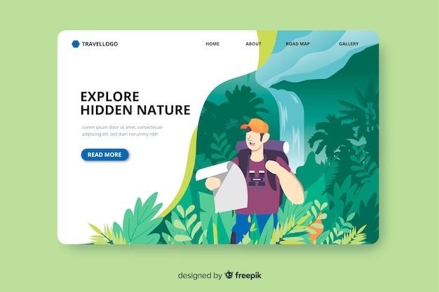 Adventure in jungle landing page Free Vector
