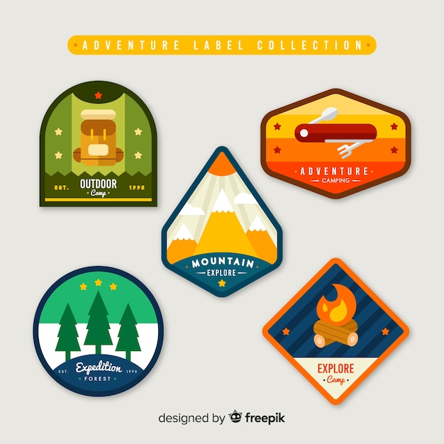 Adventure label collection Free Vector