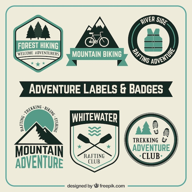 Adventure labels and badges Free Vector