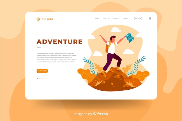 Adventure landing page template concept Free Vector