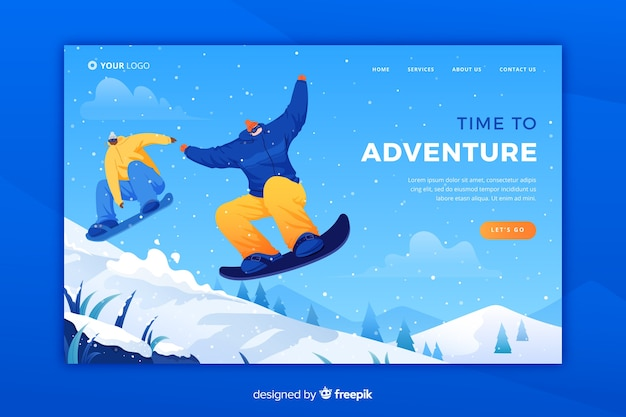 Adventure landing page template Free Vector