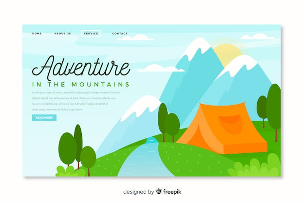 Adventure landing page with camping Free Vector