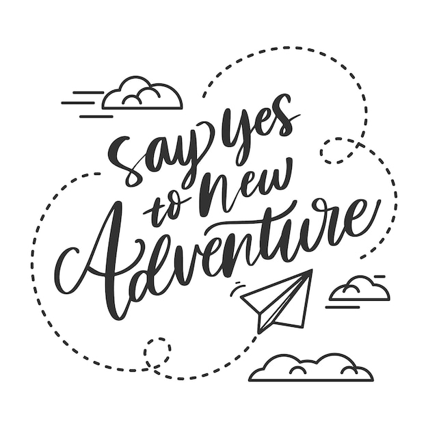 Adventure lettering with clouds Free Vector
