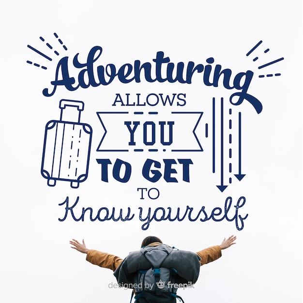 Adventure lettering with photo background Free Vector